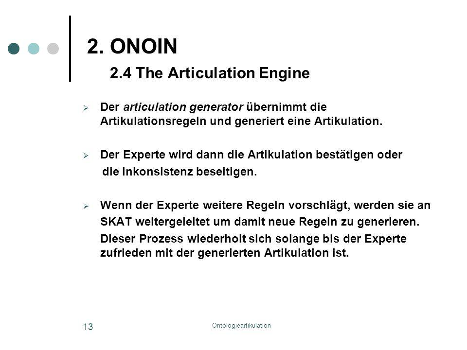 Ontologieartikulation 13 2. ONOIN 2.4 The Articulation Engine  Der articulation generator übernimmt die Artikulationsregeln und generiert eine Artiku