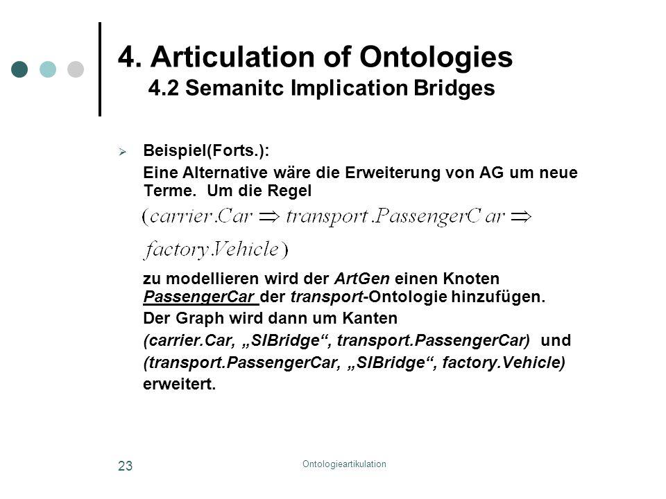 Ontologieartikulation 23 4. Articulation of Ontologies 4.2 Semanitc Implication Bridges  Beispiel(Forts.): Eine Alternative wäre die Erweiterung von