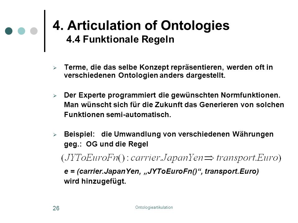 Ontologieartikulation 26 4.