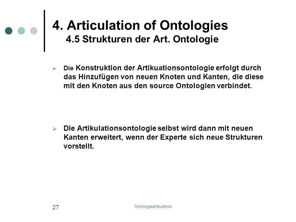 Ontologieartikulation 27 4. Articulation of Ontologies 4.5 Strukturen der Art. Ontologie  Die Konstruktion der Artikuationsontologie erfolgt durch da