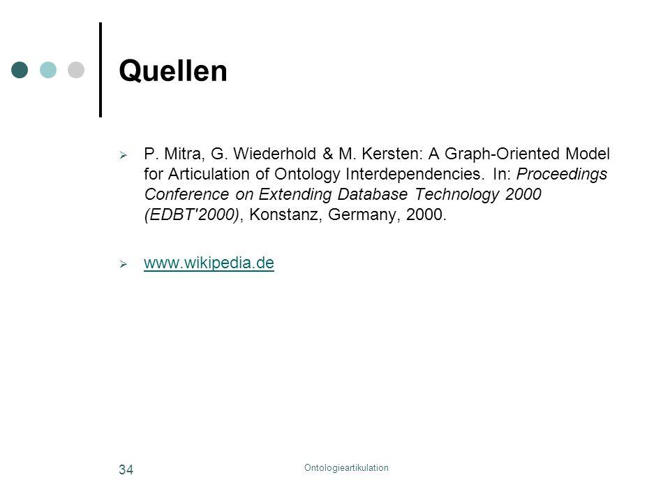 Ontologieartikulation 34 Quellen  P. Mitra, G. Wiederhold & M. Kersten: A Graph-Oriented Model for Articulation of Ontology Interdependencies. In: Pr