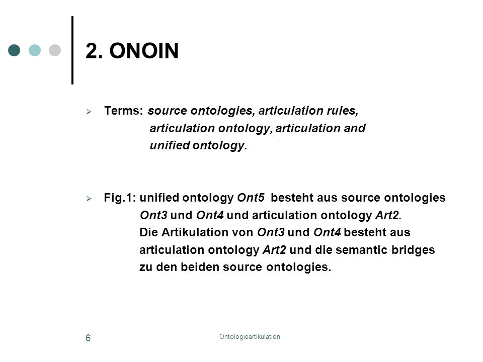 Ontologieartikulation 6 2. ONOIN  Terms: source ontologies, articulation rules, articulation ontology, articulation and unified ontology.  Fig.1: un