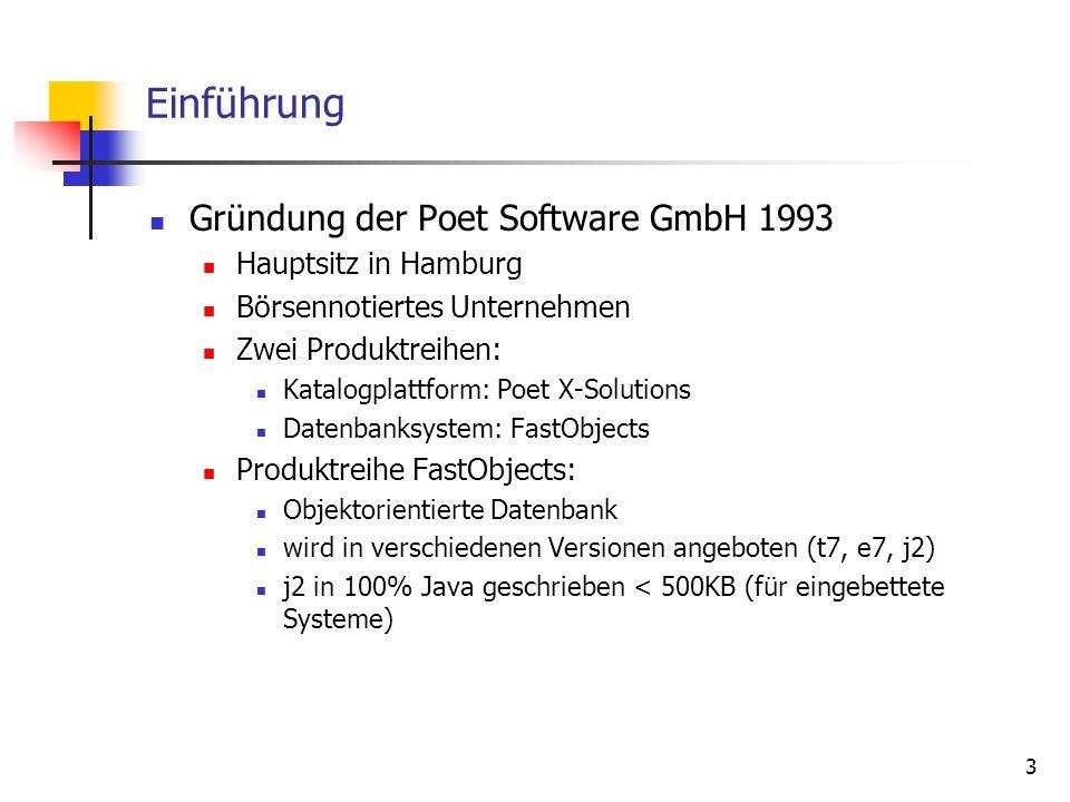 3 Einführung Gründung der Poet Software GmbH 1993 Hauptsitz in Hamburg Börsennotiertes Unternehmen Zwei Produktreihen: Katalogplattform: Poet X-Solutions Datenbanksystem: FastObjects Produktreihe FastObjects: Objektorientierte Datenbank wird in verschiedenen Versionen angeboten (t7, e7, j2) j2 in 100% Java geschrieben < 500KB (für eingebettete Systeme)