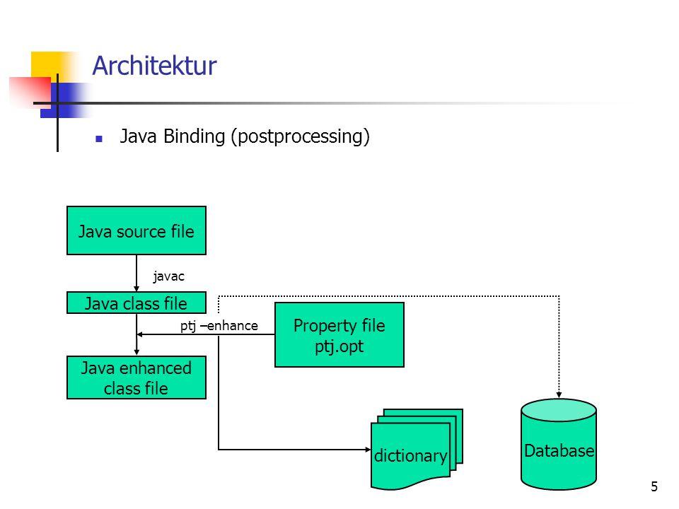 6 Architektur Dictionary enthält alle Informationen über die Struktur der persistenten Klassen  Klassenschema kann verschiedene Versionen von Klassen verwalten teilt der DB mit, wie Klassen gelesen und geschrieben werden müssen