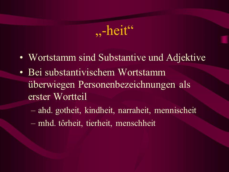 """""""-heit"""" Wortstamm sind Substantive und Adjektive Bei substantivischem Wortstamm überwiegen Personenbezeichnungen als erster Wortteil –ahd. gotheit, ki"""