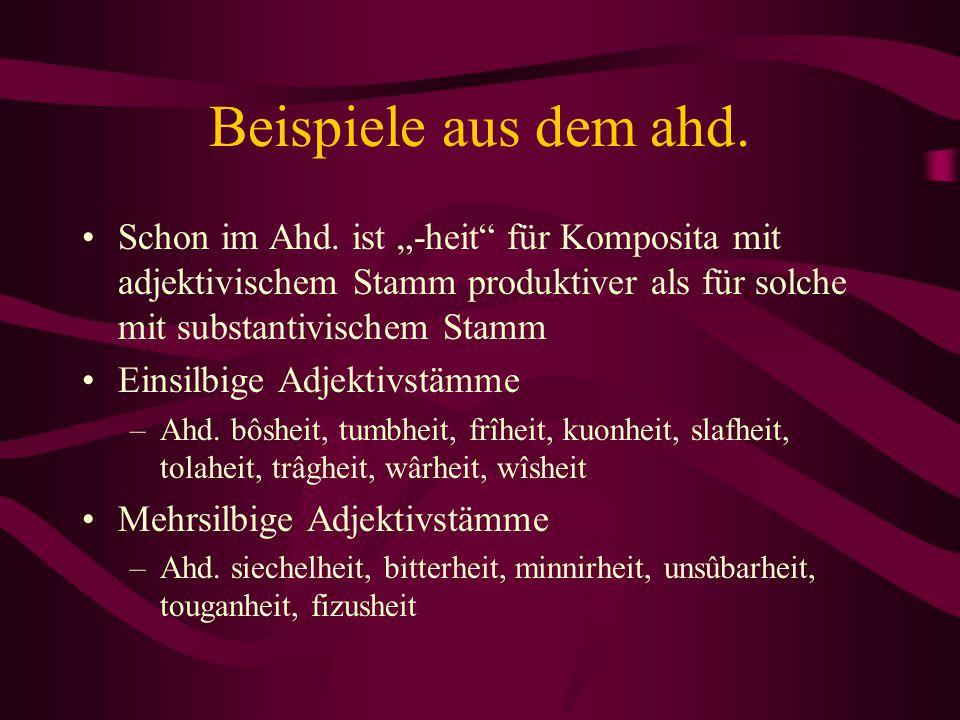 """Beispiele aus dem ahd. Schon im Ahd. ist """"-heit"""" für Komposita mit adjektivischem Stamm produktiver als für solche mit substantivischem Stamm Einsilbi"""