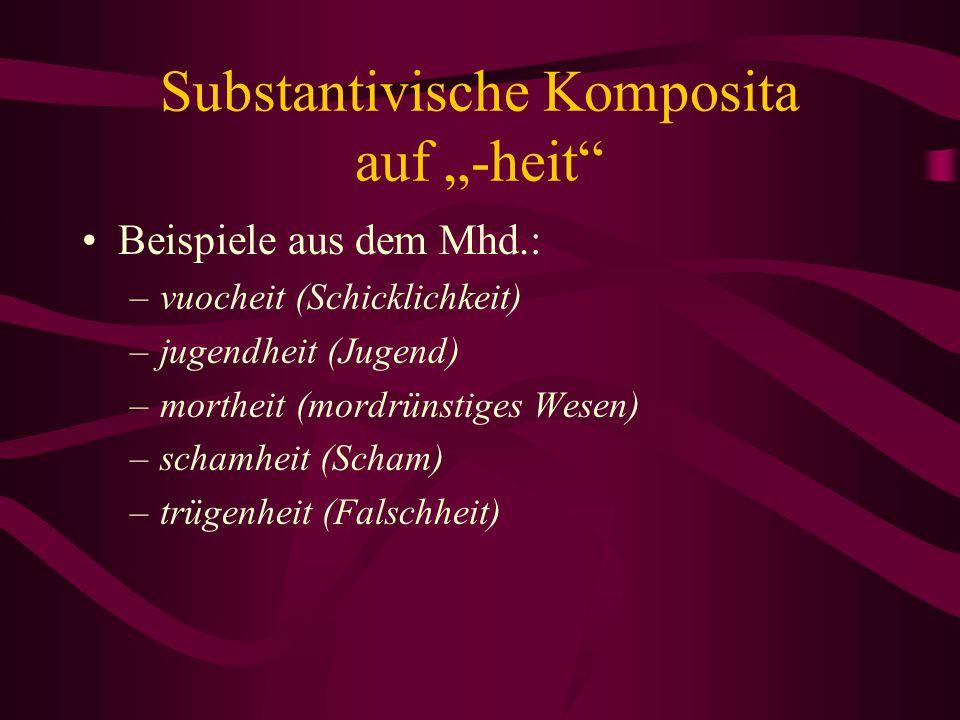 """Substantivische Komposita auf """"-heit"""" Beispiele aus dem Mhd.: –vuocheit (Schicklichkeit) –jugendheit (Jugend) –mortheit (mordrünstiges Wesen) –schamhe"""