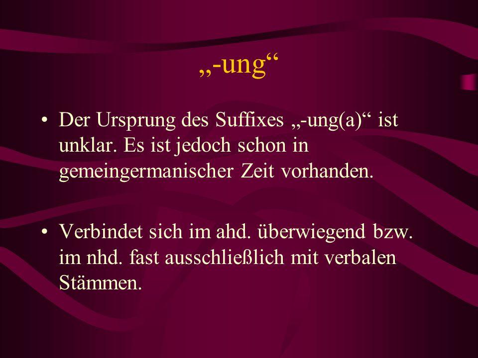 """""""-ung"""" Der Ursprung des Suffixes """"-ung(a)"""" ist unklar. Es ist jedoch schon in gemeingermanischer Zeit vorhanden. Verbindet sich im ahd. überwiegend bz"""