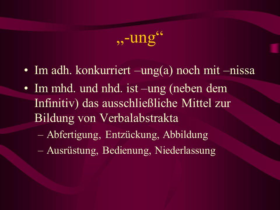 """""""-ung"""" Im adh. konkurriert –ung(a) noch mit –nissa Im mhd. und nhd. ist –ung (neben dem Infinitiv) das ausschließliche Mittel zur Bildung von Verbalab"""