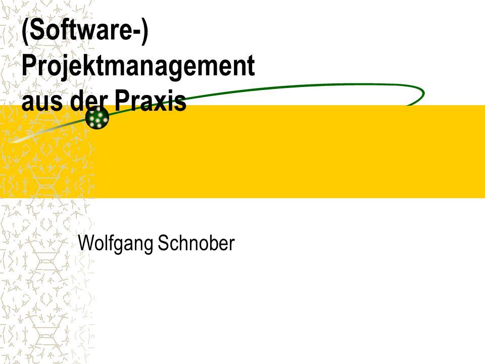 (Software-) Projektmanagement aus der Praxis Wolfgang Schnober