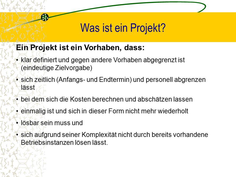 Was ist ein Projekt? Ein Projekt ist ein Vorhaben, dass: klar definiert und gegen andere Vorhaben abgegrenzt ist (eindeutige Zielvorgabe) sich zeitlic