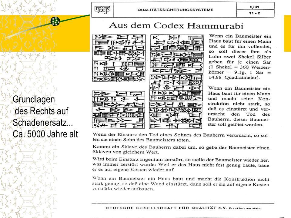 Grundlagen des Rechts auf Schadenersatz... Ca. 5000 Jahre alt