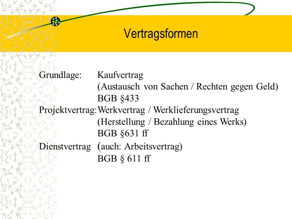 Vertragsformen Grundlage:Kaufvertrag (Austausch von Sachen / Rechten gegen Geld) BGB §433 Projektvertrag:Werkvertrag / Werklieferungsvertrag (Herstell