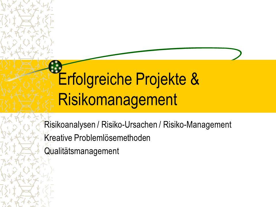 Erfolgreiche Projekte & Risikomanagement Risikoanalysen / Risiko-Ursachen / Risiko-Management Kreative Problemlösemethoden Qualitätsmanagement