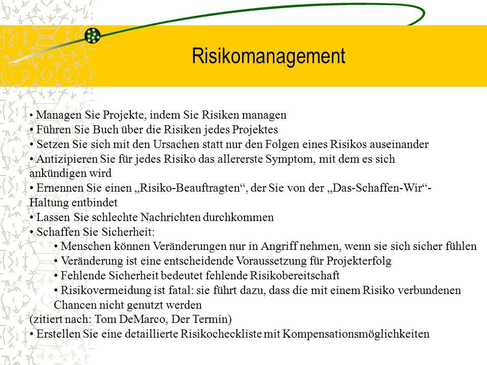 Risikomanagement Managen Sie Projekte, indem Sie Risiken managen Führen Sie Buch über die Risiken jedes Projektes Setzen Sie sich mit den Ursachen sta
