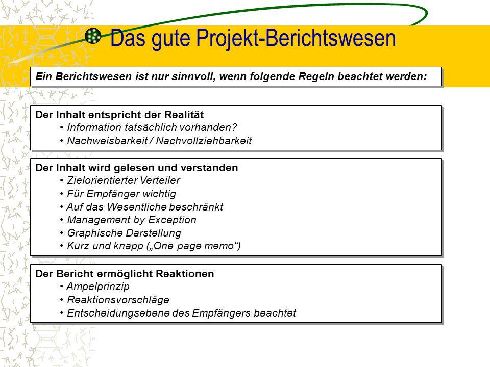 Das gute Projekt-Berichtswesen Der Inhalt entspricht der Realität Information tatsächlich vorhanden? Nachweisbarkeit / Nachvollziehbarkeit Der Inhalt