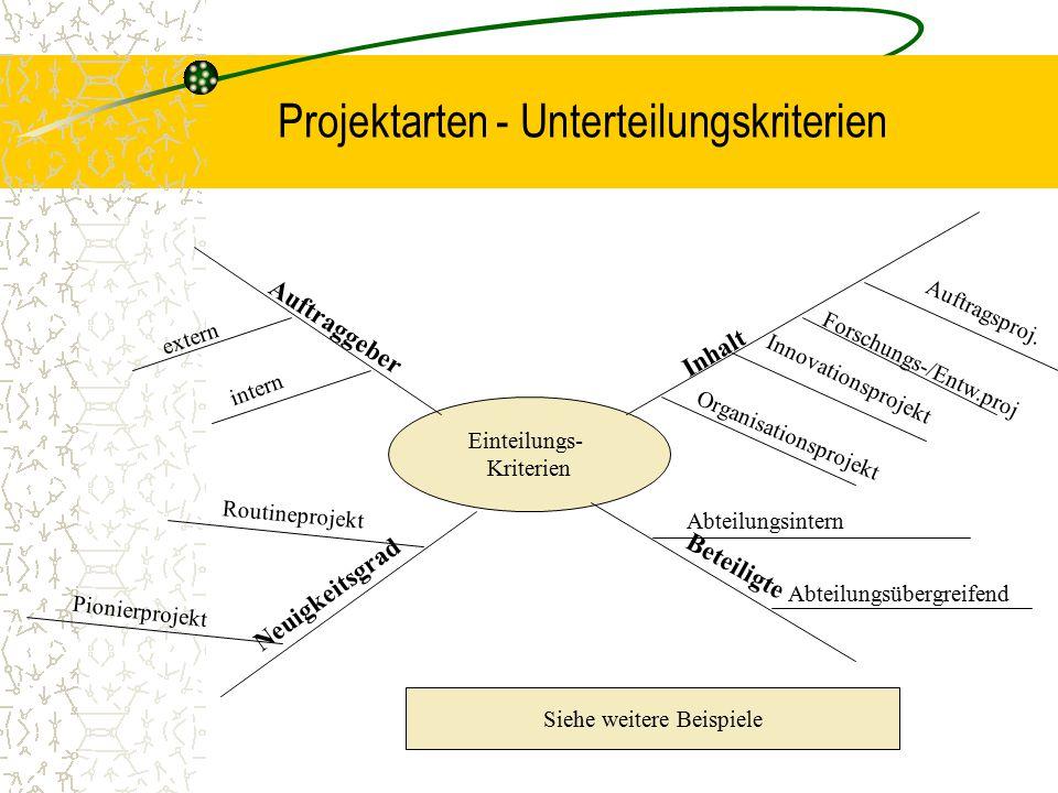 Projektarten - Unterteilungskriterien Einteilungs- Kriterien Inhalt Organisationsprojekt Innovationsprojekt Forschungs-/Entw.proj Auftragsproj. Auftra