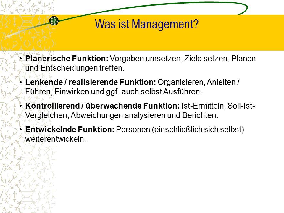 Was ist Management? Planerische Funktion: Vorgaben umsetzen, Ziele setzen, Planen und Entscheidungen treffen. Lenkende / realisierende Funktion: Organ