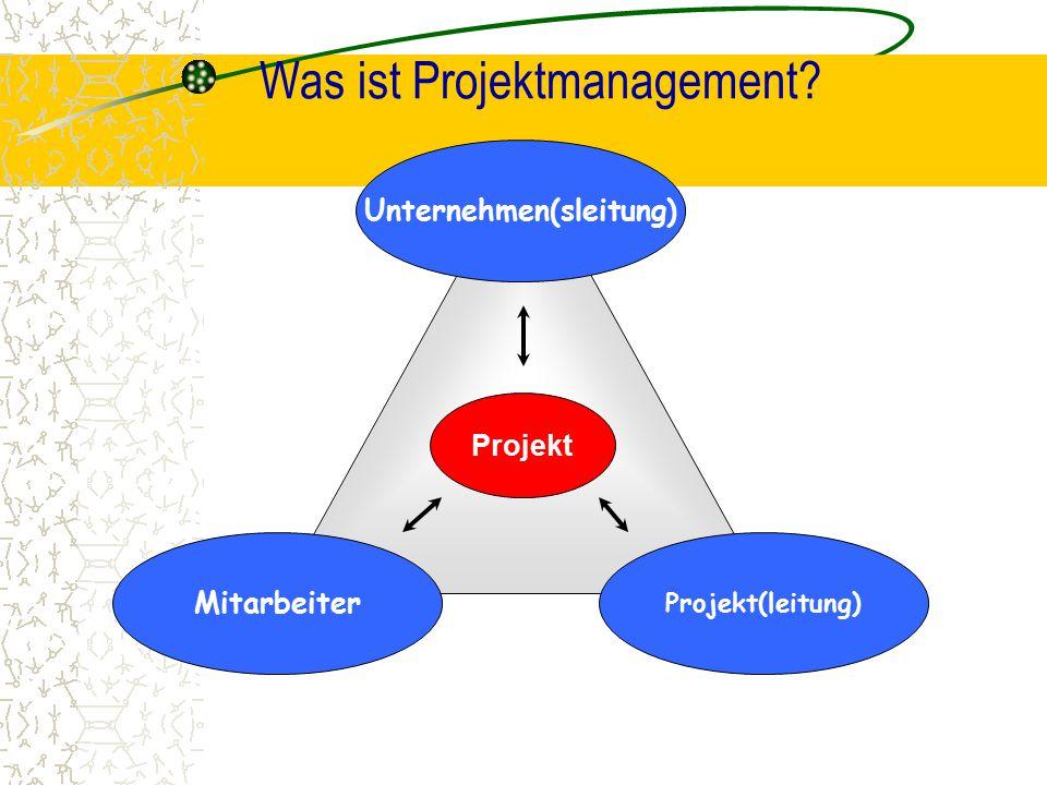 Was ist Projektmanagement? Mitarbeiter Unternehmen(sleitung) Projekt(leitung) Projekt