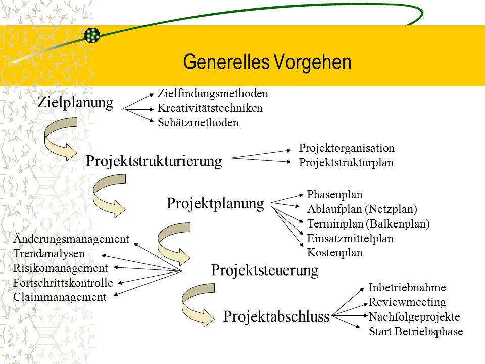 Generelles Vorgehen Zielplanung Projektstrukturierung Projektorganisation Projektstrukturplan Projektplanung Phasenplan Ablaufplan (Netzplan) Terminpl