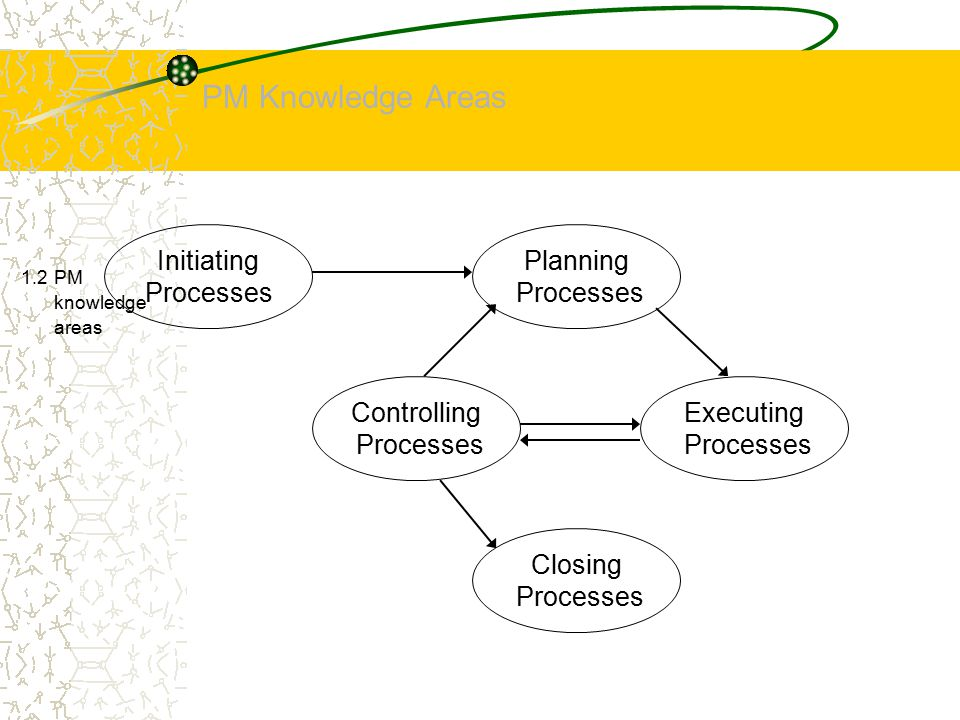 PM Knowledge Areas 1.2 PM knowledge areas Initiating Processes Planning Processes Closing Processes Controlling Processes Executing Processes