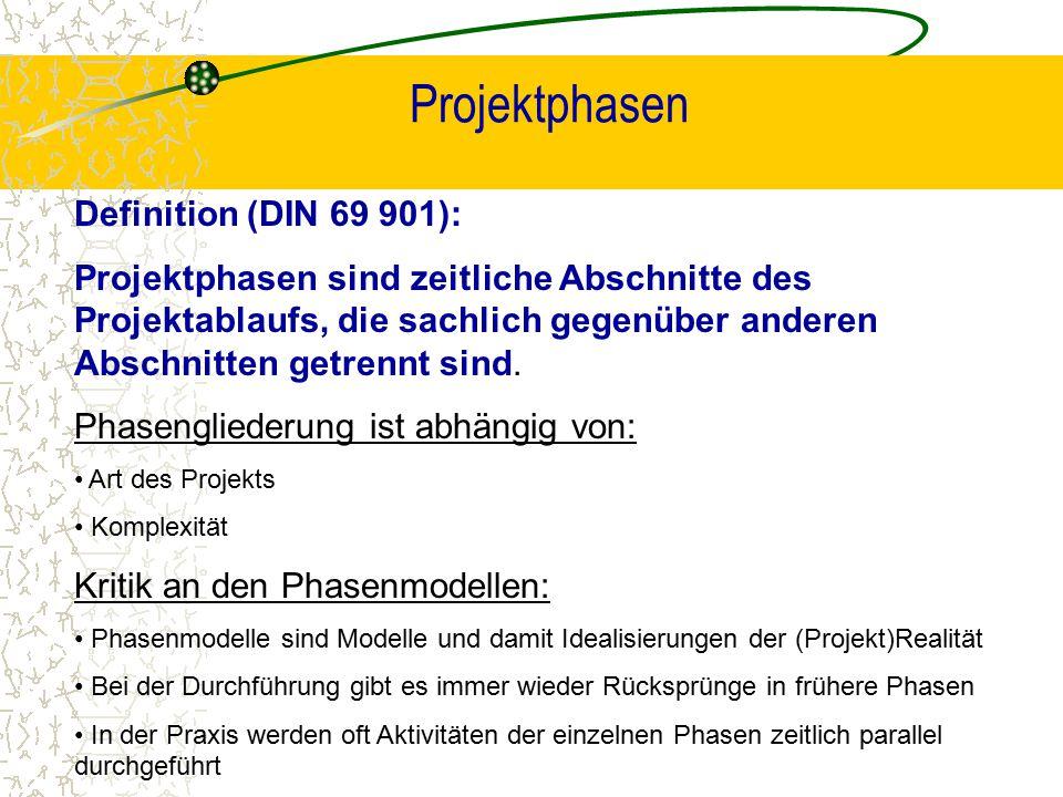 Projektphasen Definition (DIN 69 901): Projektphasen sind zeitliche Abschnitte des Projektablaufs, die sachlich gegenüber anderen Abschnitten getrennt