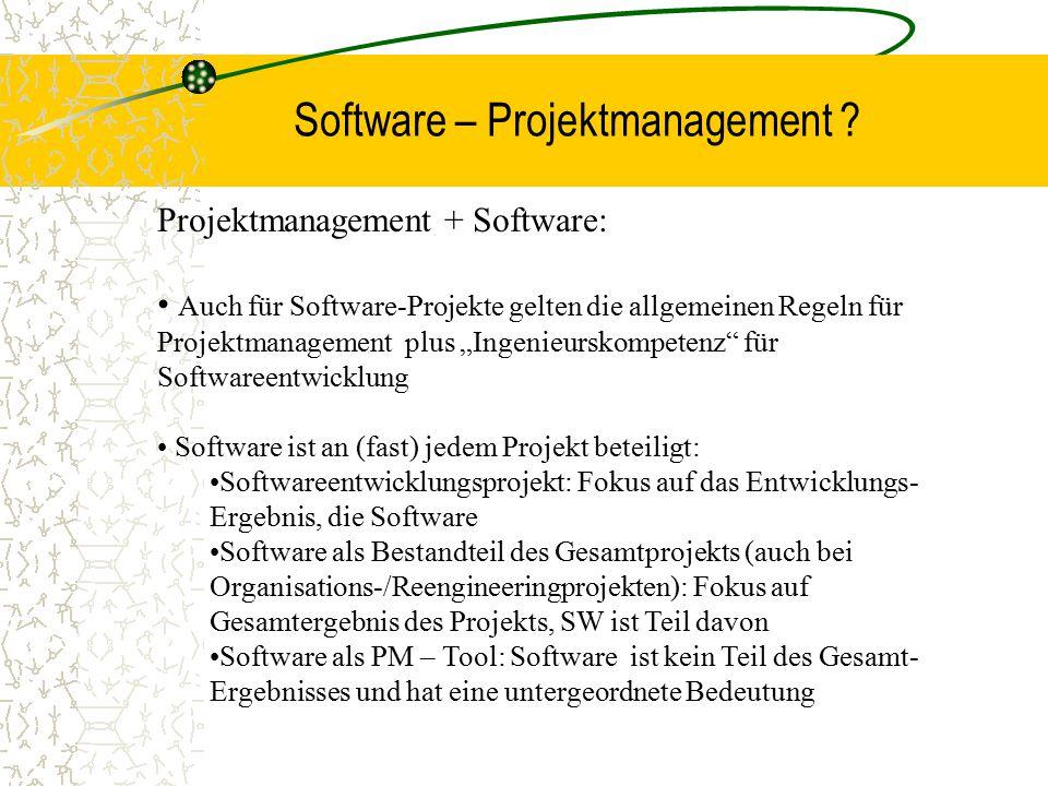 """Software – Projektmanagement ? Projektmanagement + Software: Auch für Software-Projekte gelten die allgemeinen Regeln für Projektmanagement plus """"Inge"""
