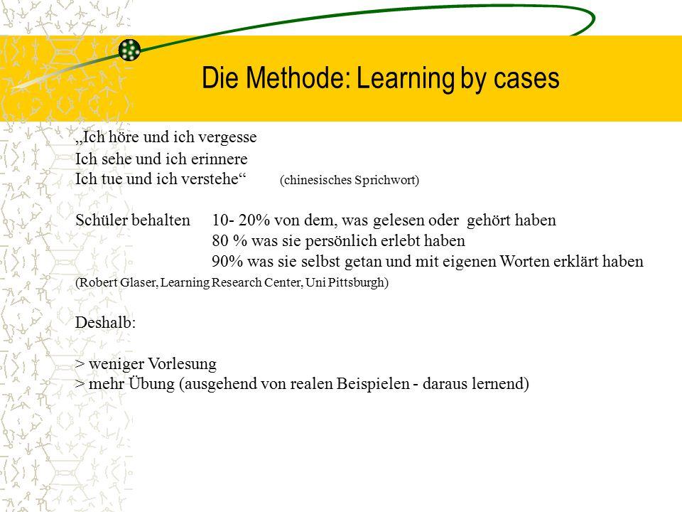 """Die Methode: Learning by cases """"Ich höre und ich vergesse Ich sehe und ich erinnere Ich tue und ich verstehe"""" (chinesisches Sprichwort) Schüler behalt"""