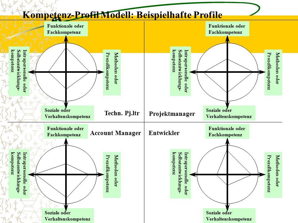 Kompetenz-Profil Modell: Beispielhafte Profile Funktionale oder Fachkompetenz Methoden oder Prozeßkompetenz Soziale oder Verhaltenskompetenz Intrapers