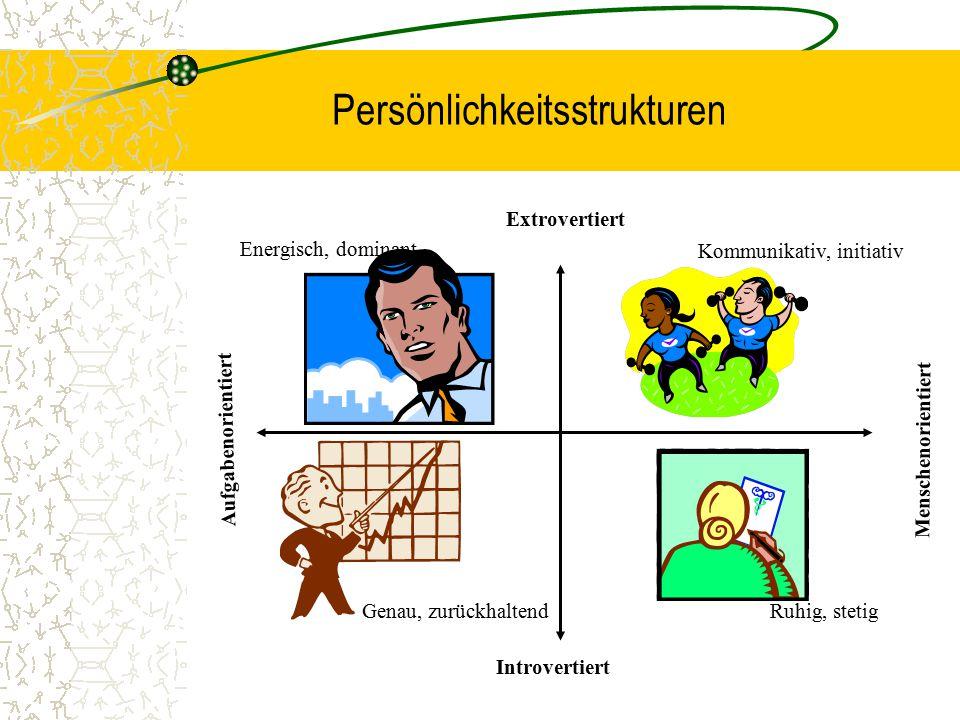 Persönlichkeitsstrukturen Genau, zurückhaltendRuhig, stetig Kommunikativ, initiativ Energisch, dominant Extrovertiert Introvertiert Menschenorientiert