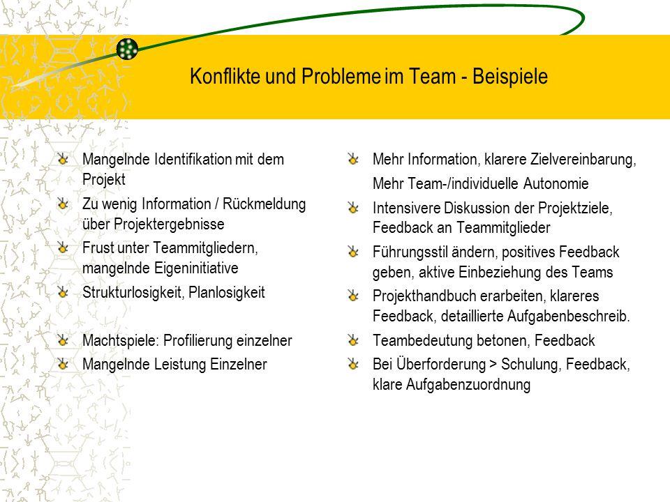 Konflikte und Probleme im Team - Beispiele Mangelnde Identifikation mit dem Projekt Zu wenig Information / Rückmeldung über Projektergebnisse Frust un