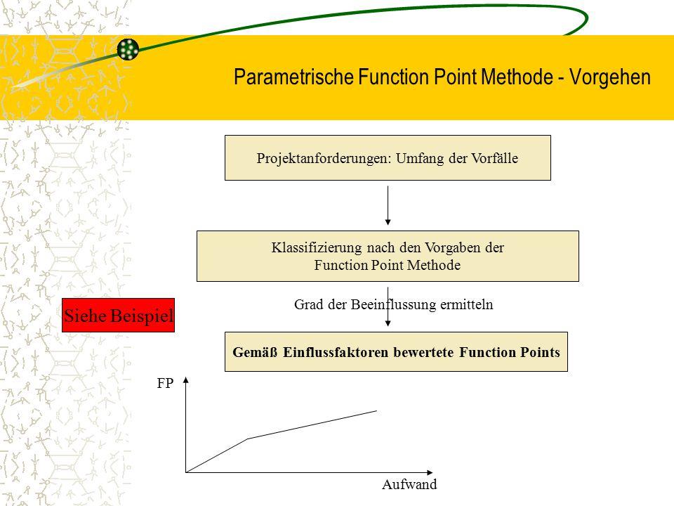 Parametrische Function Point Methode - Vorgehen Projektanforderungen: Umfang der Vorfälle Klassifizierung nach den Vorgaben der Function Point Methode