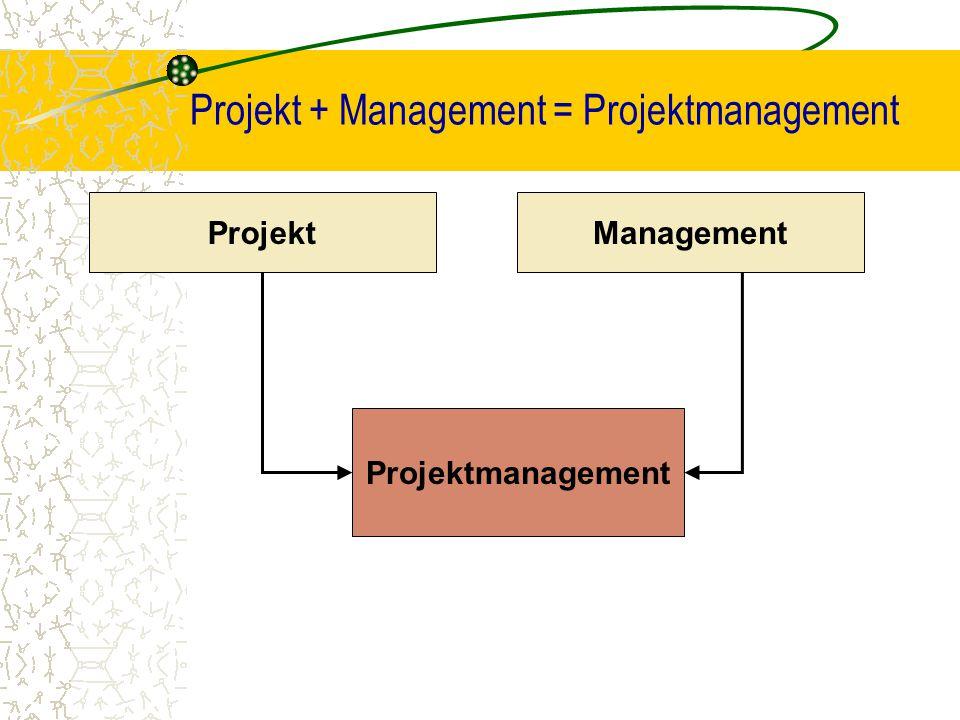 Projekt + Management = Projektmanagement ProjektManagement Projektmanagement