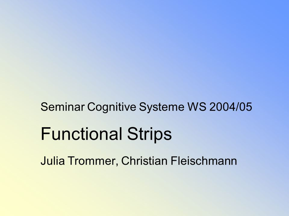Functional Strips Julia Trommer, Christian Fleischmann Seite 12 1.Die Türme von Hanoi 1.1.Hanoi in Strips 1.2Hanoi in Functional Strips 2.Functional Strips 2.1Motivation 2.2Sprache 2.3Operatoren 2.4Zustandsmodell 3.Vergleich Zustandsmodelle: Strips und Functional Strips 4.Reifenbeispiel in Functional Strips