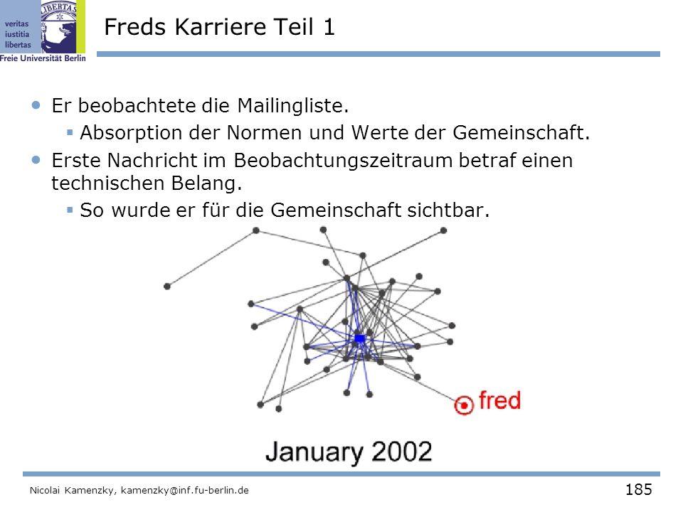 185 Nicolai Kamenzky, kamenzky@inf.fu-berlin.de Freds Karriere Teil 1 Er beobachtete die Mailingliste.