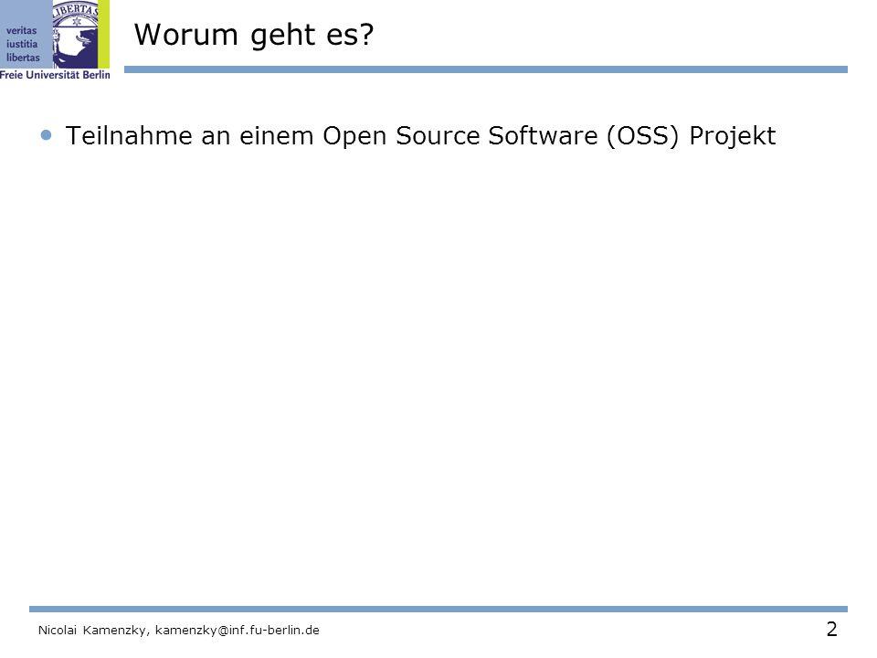 103 Nicolai Kamenzky, kamenzky@inf.fu-berlin.de Das Python Projekt Programmiersprache für viele Plattformen  Interpretiert, objekt-orientiert  Enfach zu erlernen und zu lesen.