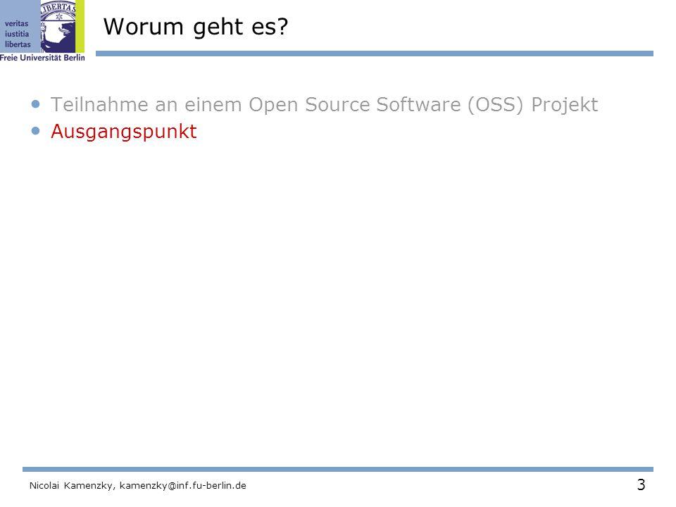 184 Nicolai Kamenzky, kamenzky@inf.fu-berlin.de Der OSS Project Browser Um den Grad des Einflusses einer Person zu visualisieren, hat Ducheneaut ein Programm entwickelt.