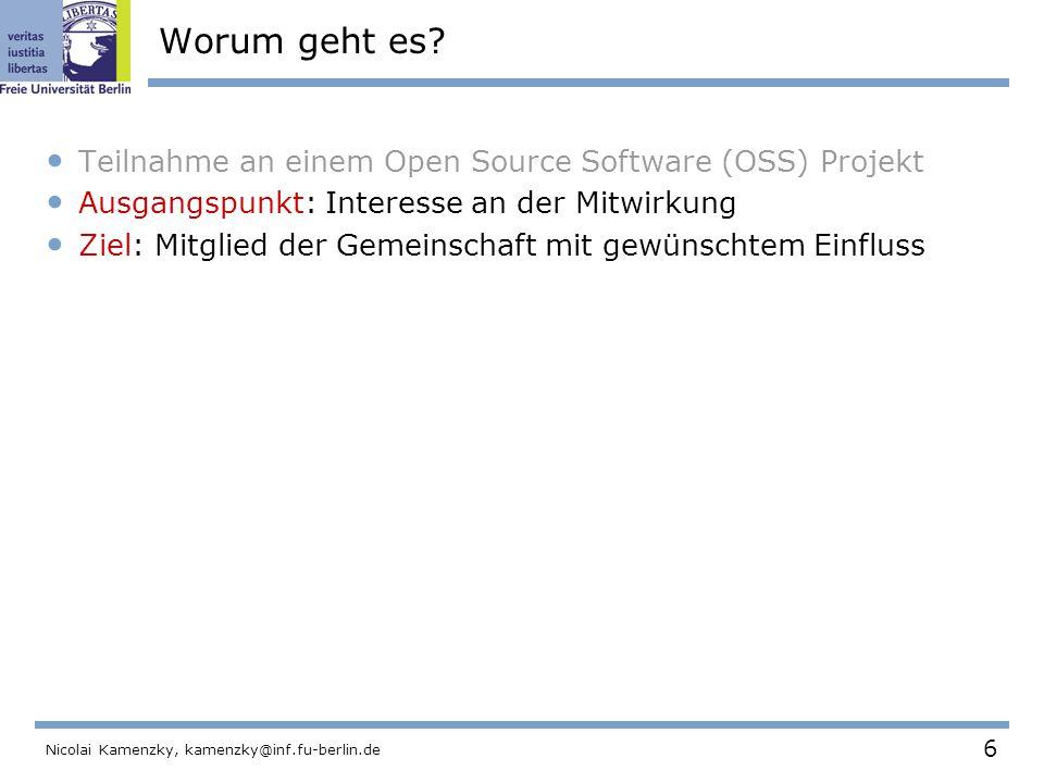 97 Nicolai Kamenzky, kamenzky@inf.fu-berlin.de Das Python Projekt