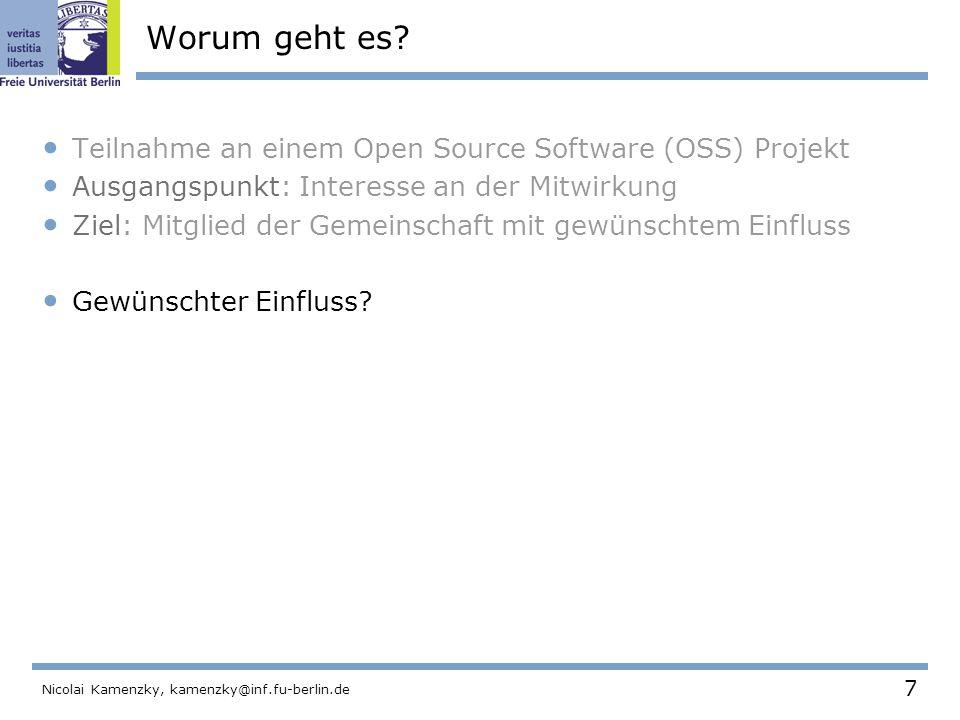 108 Nicolai Kamenzky, kamenzky@inf.fu-berlin.de Der OSS Project Browser Um den Grad des Einflusses einer Person zu visualisieren, hat Ducheneaut ein Programm entwickelt.