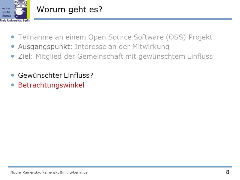 49 Nicolai Kamenzky, kamenzky@inf.fu-berlin.de Spezialisierung Projekt wurde in Module gegliedert.