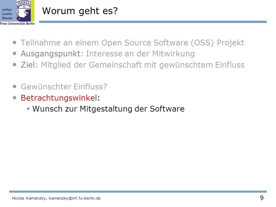 50 Nicolai Kamenzky, kamenzky@inf.fu-berlin.de Spezialisierung Projekt wurde in Module gegliedert.