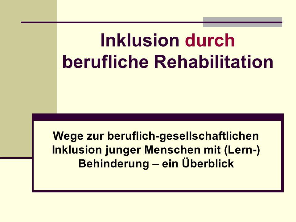 Inklusion durch berufliche Rehabilitation Wege zur beruflich-gesellschaftlichen Inklusion junger Menschen mit (Lern-) Behinderung – ein Überblick