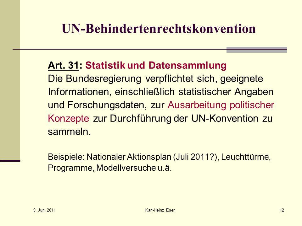 9.Juni 2011 Karl-Heinz Eser12 UN-Behindertenrechtskonvention Art.