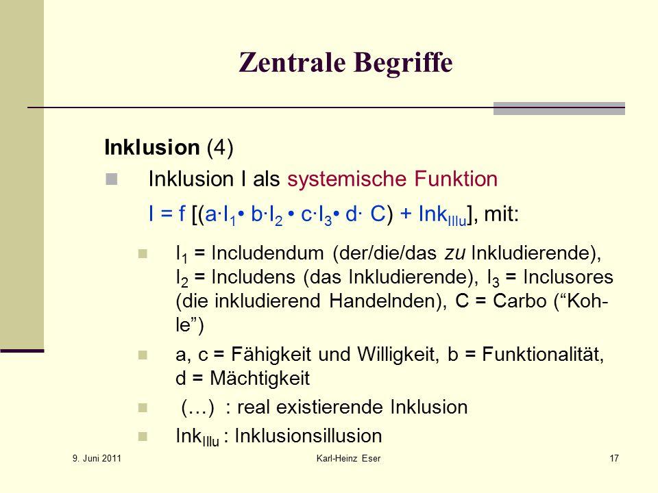 9. Juni 2011 Karl-Heinz Eser17 Zentrale Begriffe Inklusion (4) Inklusion I als systemische Funktion I = f [(a∙I 1 b∙I 2 c∙I 3 d∙ C) + Ink Illu ], mit: