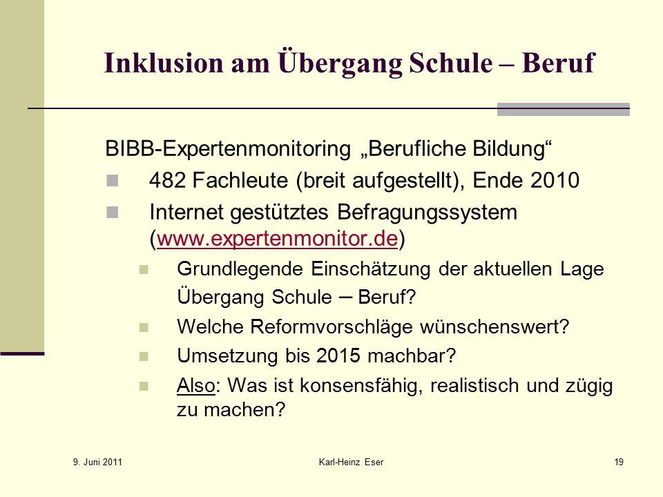 """9. Juni 2011 Karl-Heinz Eser19 Inklusion am Übergang Schule – Beruf BIBB-Expertenmonitoring """"Berufliche Bildung"""" 482 Fachleute (breit aufgestellt), En"""