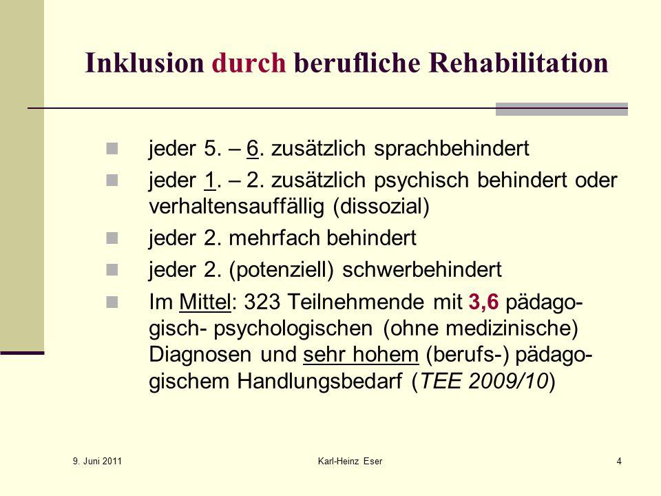 9.Juni 2011 Karl-Heinz Eser5 Inklusion durch berufliche Rehabilitation Inhalte 1.