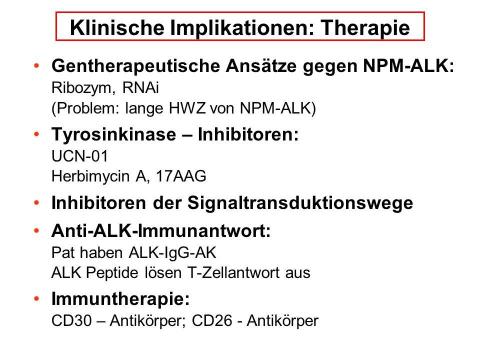 Gentherapeutische Ansätze gegen NPM-ALK: Ribozym, RNAi (Problem: lange HWZ von NPM-ALK) Tyrosinkinase – Inhibitoren: UCN-01 Herbimycin A, 17AAG Inhibitoren der Signaltransduktionswege Anti-ALK-Immunantwort: Pat haben ALK-IgG-AK ALK Peptide lösen T-Zellantwort aus Immuntherapie: CD30 – Antikörper; CD26 - Antikörper Klinische Implikationen: Therapie