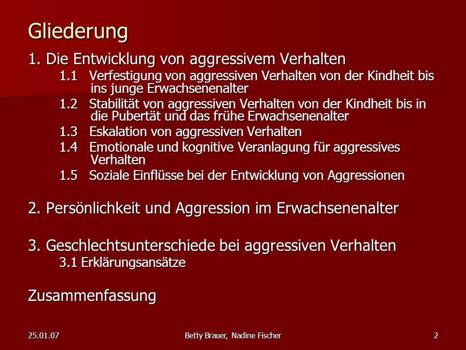 25.01.07Betty Brauer, Nadine Fischer2 Gliederung 1. Die Entwicklung von aggressivem Verhalten 1.1 Verfestigung von aggressiven Verhalten von der Kindh
