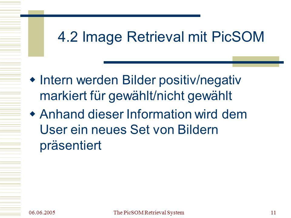 06.06.2005 The PicSOM Retrieval System11 4.2 Image Retrieval mit PicSOM  Intern werden Bilder positiv/negativ markiert für gewählt/nicht gewählt  Anhand dieser Information wird dem User ein neues Set von Bildern präsentiert