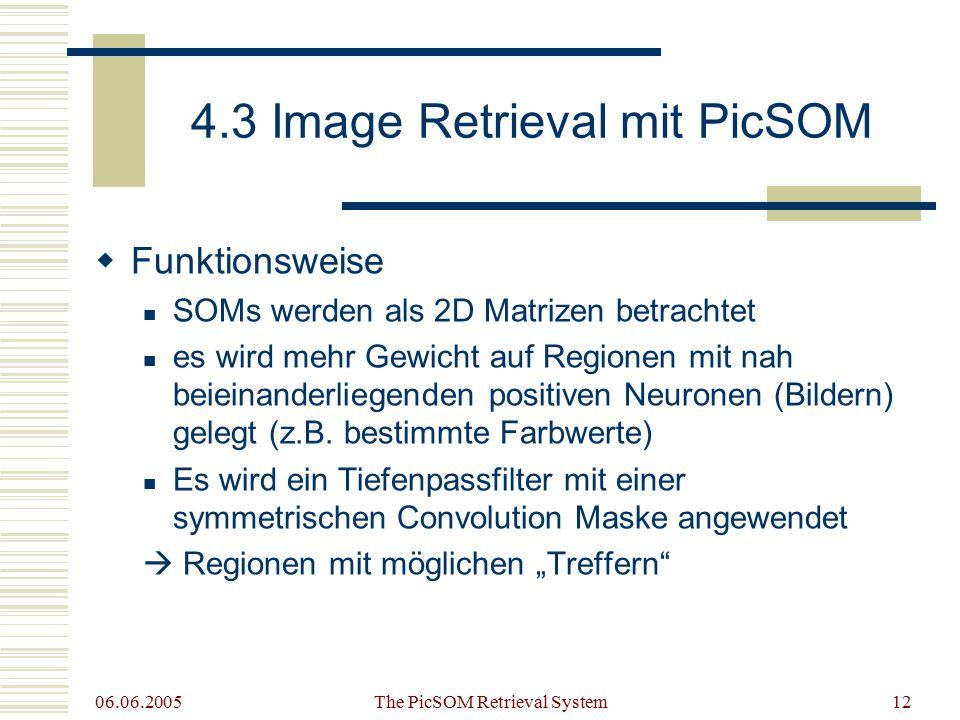 06.06.2005 The PicSOM Retrieval System12 4.3 Image Retrieval mit PicSOM  Funktionsweise SOMs werden als 2D Matrizen betrachtet es wird mehr Gewicht auf Regionen mit nah beieinanderliegenden positiven Neuronen (Bildern) gelegt (z.B.